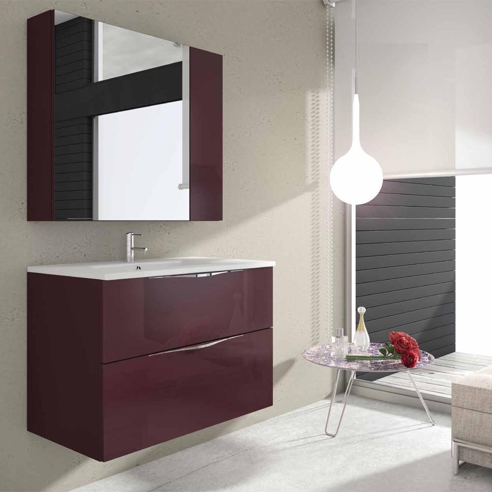 Mueble de baño Irion 100 cm suspendido plata negro